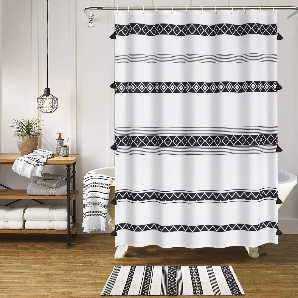 HAOCOO Tassel Boho Shower Japan Maker free shipping New Curtain Fabric Black White Cu