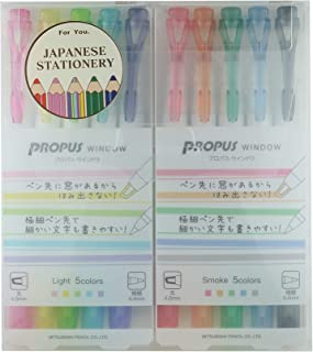 Uni Highlighter PROPUS WINDOW Light color 5colors/Smoke color 5colors-2Pack with MIYABI Stationery Original Pen Case Set(P...