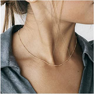 18k Gold Plated Chain Choker Lava Bead Pendant Necklace Dainty Jewelry for Women 16''