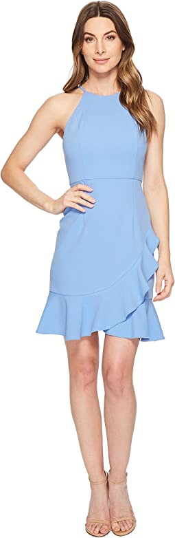 Crepe Halter Dress with Ruffle Skirt