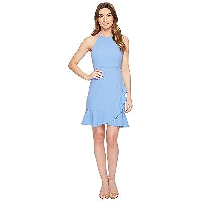Donna Morgan Crepe Halter Dress with Ruffle Skirt (Blue Bonnet) Women
