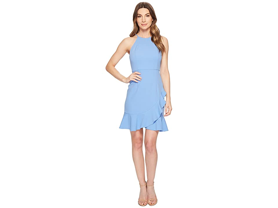 1cd68bc16a7 Donna Morgan Crepe Halter Dress with Ruffle Skirt (Blue Bonnet) Women