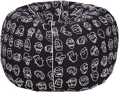 Reme Organic Cotton Premium XXL Printed Bean Bag Cover-Black Color ( Without Beans)
