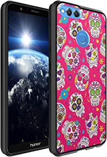 Huawei Honor 7X Case, Capsule-Case Hybrid Slim Hard Back Shield Case with Fused TPU Edge Bumper (Black) for Huawei Honor 7X - (Pink Sugar Skulls)