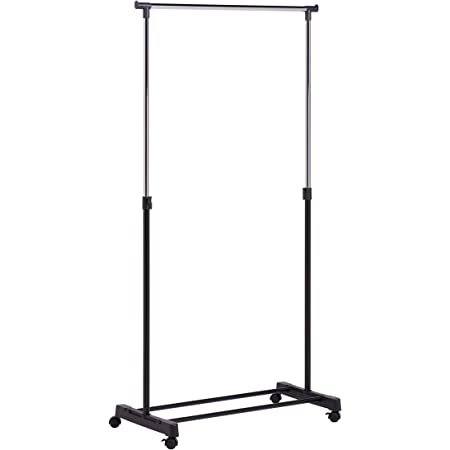 Amazon Com Honey Can Do Height Adjustable Rolling Garment Rack With Shoe Shelf Home Kitchen