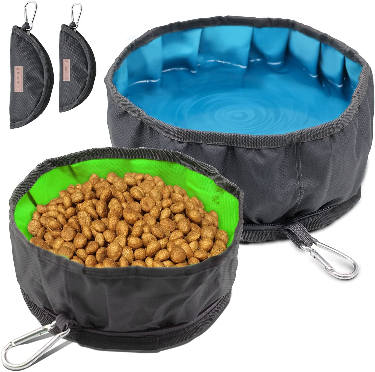 LumoLeaf Collapsible Dog Bowls, Large Lightweight Foldable Travel Bowl, Portable Water and Food Bowls for Pets Dogs Cats with Zipper.( (Set of 2 (Blue 10 Cups + Green 8 Cups)))