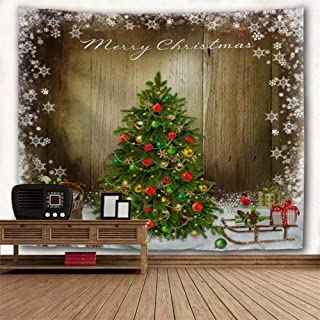 BROSHAN Vintage Christmas Decor Tapestry, Christmas Tree with Ornaments Gift Snowflakes on Wooden Board Tapestry Wall Hanging Small for Bedroom Living Room Wall Art Blanket Fabric, 52