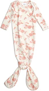 aden + anais Snuggle Knit Knotted Newborn Baby Gown, Super Soft and Stretchy Gown with Mitten Cuffs, 0-3 Months, Rosettes