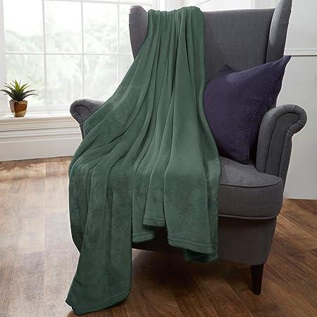 Dreamscene Warm Soft Cosy Plain Fleece Large Black Throw Over Sofa Bed Blanket