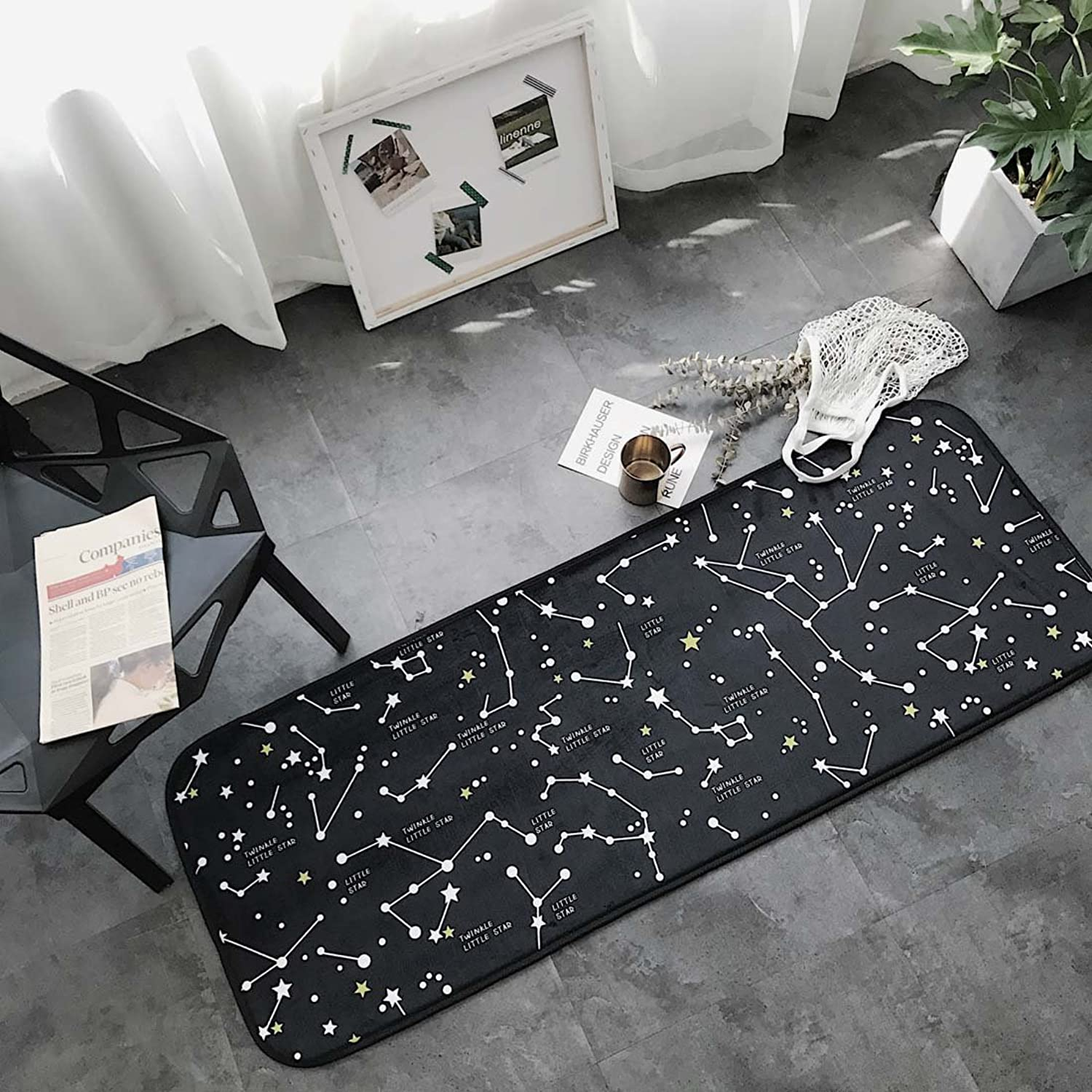 Babe MAPS Indoor Outdoor 2PCS Doormat Entrance Welcome Mat Absorbent Runner Inserts Non Slip Entry Rug Funny Constellation Pattern, Home Decor Inside shoes Scraper Floor Carpet 19 x27  19 x58