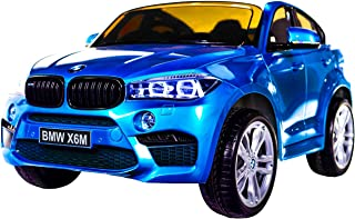 Licensed BMW X6 Ride On JJ2199 Electric Toy Car for Kids 12V Battery Powered LED Lights MP3 RC Parental Remote Controller Leather Seat Suitable for Boys Girls Blue