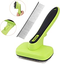 Dog Brush Dog Grooming Brush Self Cleaning Slicker Brush and A Metal Comb - Professional Pet Grooming Brush for Small, Medium & Large Dogs, Cats and Rabbit - Including Hair-Shedding Pets