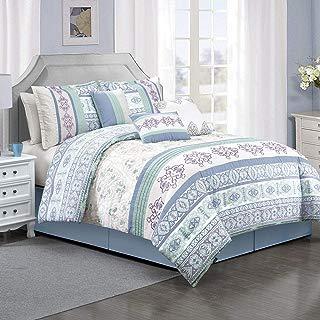 KingLinen 7 Piece Saxona Blue/Sage/Lavender Comforter Set Queen