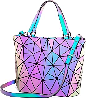 Holographic Handbag Luminous Geometric Bag Reflective Purse Tote Shoulder Bags for Women Designer