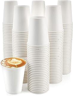 [200 عبوة] 8 اونصة. أكواب ورقية، فناجين القهوة الورقية - المتاح أكواب ساخنة بيضاء للقهوة والشاي أو مشروب الشوكولاتة الساخ...