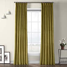 VPYC-161224 Heritage Plush Velvet Curtain, 50 x 96, Retro Black Green
