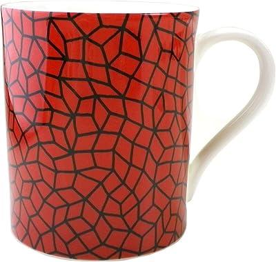 (Yayoi Kusama) 草間彌生 マグカップ コップ コーヒーカップ イエロー レッド 無限の網 Infinity Nets インフィニティネット 黄樹 陶器 (レッド)