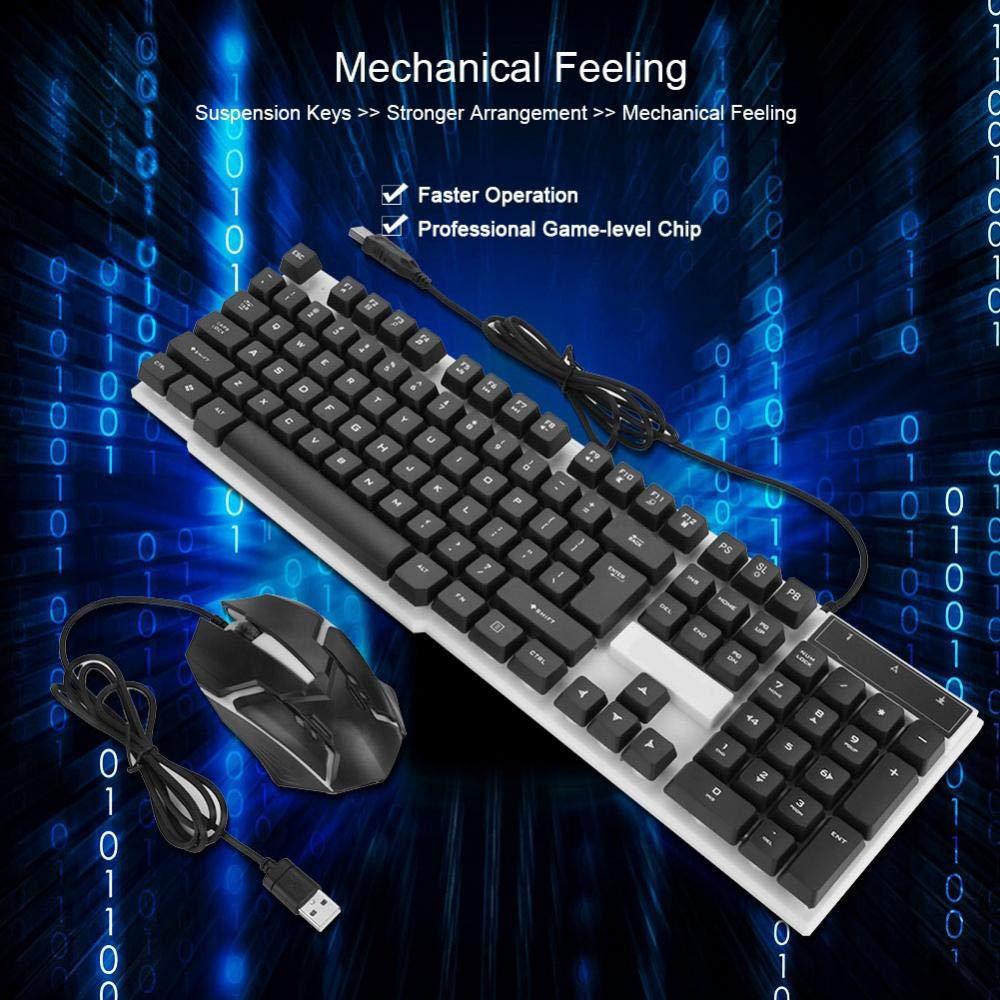 Vbestlife Pack de Teclado y Ratón Gaming Teclado Mecánico Ratón de Juego con Cable Desplazamiento 3D Teclado Respiración LED(Negro): Amazon.es: Electrónica