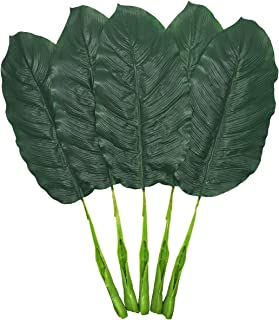 Fake Leaves 25'' Large Artificial Palm Leaves Banana Leaves Tropical Plant Green Single Leaf Palm Fronds Hawaiian Luau Party Theme Palm Sunday Decorations 5 Pcs (Dark Green)
