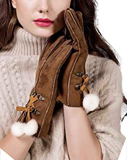 Women's Merino Lambskin Shearling Leather Gloves Furry Balls