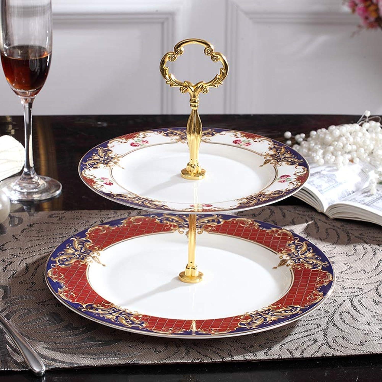 XMGJV Plateau de fête, support de gateau en céramique à trois couches double couche de mariage, assiette de fruits dessert plateau de fête plateau de thé vertical, décoration de la maison