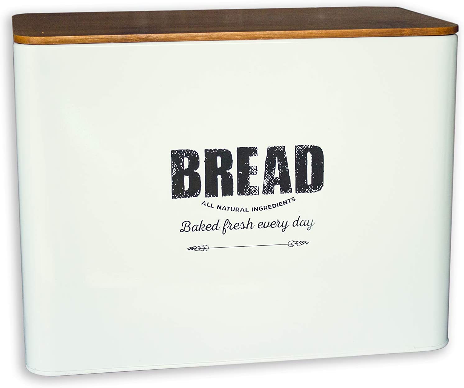 Bread depot Box for Kitchen Countertop Traditi Metal Bamboo Lid with Award-winning store