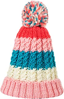 KAISHIN Casual Winter Hats for Women Colorful Beanies Hats Girls Fashion Relaxed Striped Hat Knitted Pom Pom Ball Cap