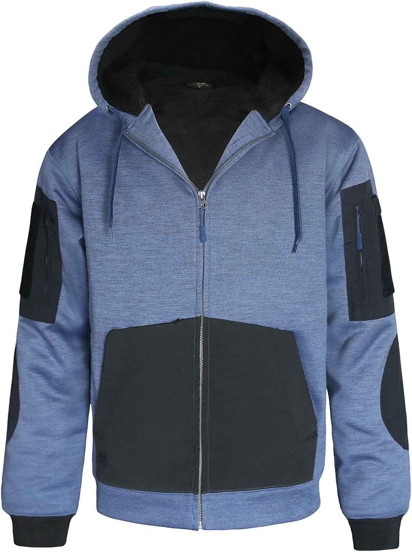 HARD LAND Men's Heavy Sherpa Hoodie Winter Work Fleece Jacket Lined Outerwear Sweatshirt