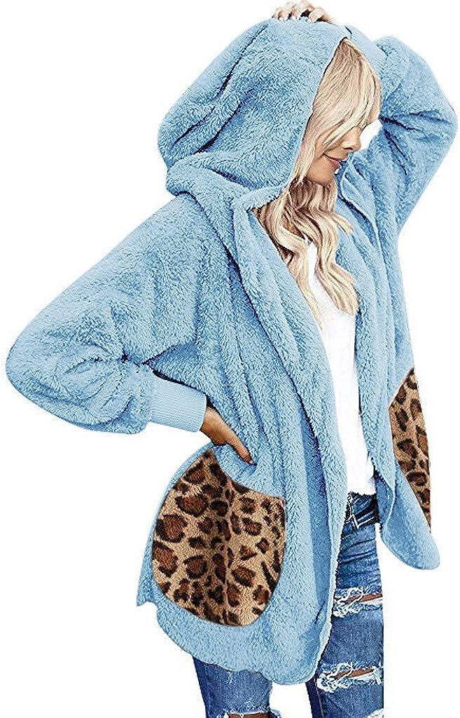 SALUCIA Damen Leopardenmuster Kuscheljacke Winter Warm Flauschige Cardigan Jacke Parka Mantel Teddyjacke Plüschjacke Winterjacke mit Kapuze 1# Blau