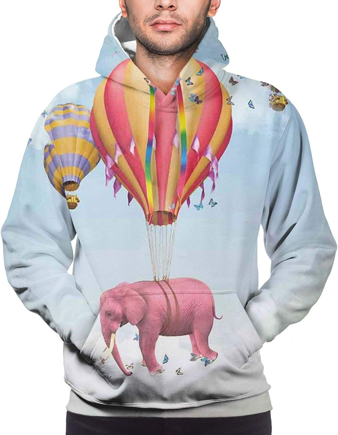 Men's Hoodies Sweatshirts,Pink Elephant Flying Through The Sky Happiness Freedom and Fantasy