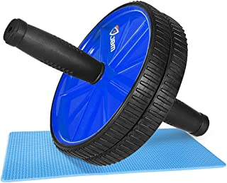 JBM Abdominal Wheel Roller with Knee Pad(5 Colors Abwheel Abroller Ab Core Trainer Equipment Dual Wheels Rubber Handle Anti Slip for Exercise Workout Gym Fitness Crossfit - 440lbs Capacity