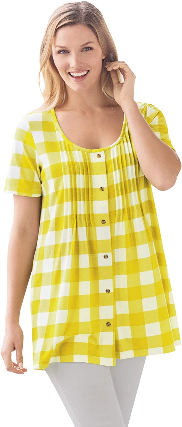 Woman Within Women's Plus Size Top In Soft Buffalo Plaid Knit, Tunic Length With Pintucks
