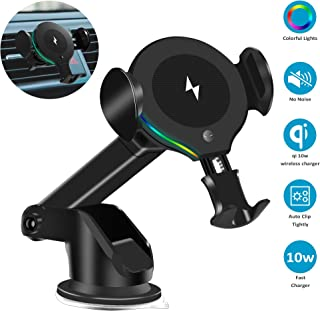HX Studio Wireless Car Charger,10W Qi Fast Charging Car Charger Mount Phone Holder Automatic Clamping,Compatible with iPhone Xs MAX/XS/XR/X/8/8+, Samsung S10/S10+/S9/S9+/S8/S8+