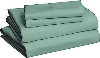 "amazonbasics Lightweight Super Soft Easy Care Microfiber Bed Sheet Set with 16"" Deep Pockets - Queen, Emerald Green"