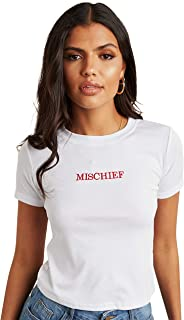 Mischief Embroidered Detail Fitted T-shirt For Women's White Closet by Styli