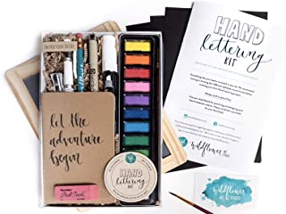 Hand Lettering Kit - Beginning Hand Lettering Set with Instructional Booklet and 4 Practice Alphabets - DIY Hand Lettering for Beginners