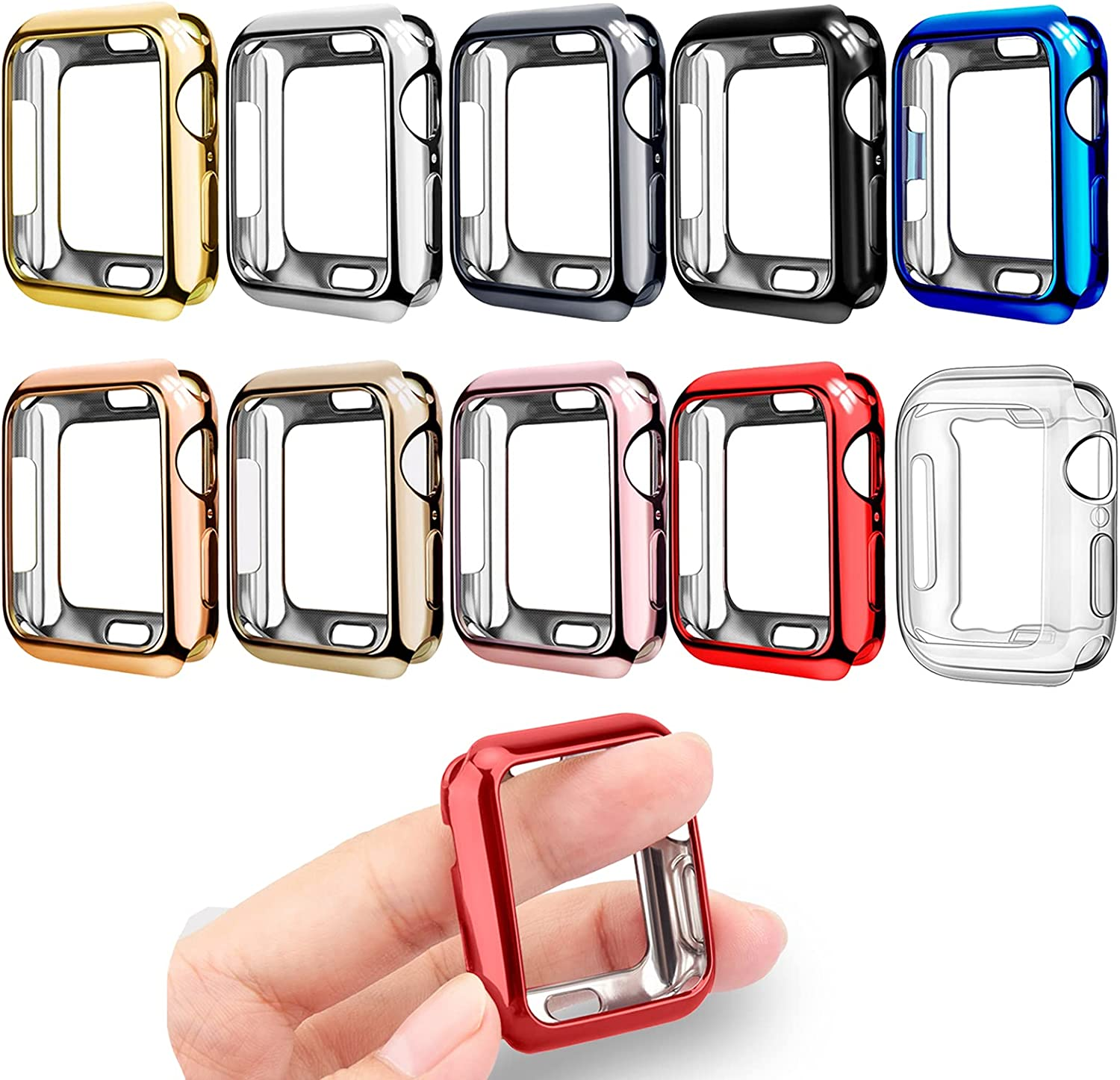 Mugust [10 Pack] Compatible for Apple Watch Case 44mm Series 6 5 4 SE, Soft TPU Bumper Case Ultra Thin Protective Cover Frame Compatible for iWatch Case 44mm