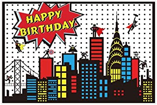 Allenjoy 5x3ft Superhero Themed Backdrop Super City Skyline Building Children Boy 1st Birthday Party Decoration Supplies Props Favors Event Banner Photo Studio Booth Background Baby Shower Photocall