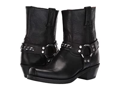 Frye Harness 8R Chain (Black Washed Antique Pull-Up) Women