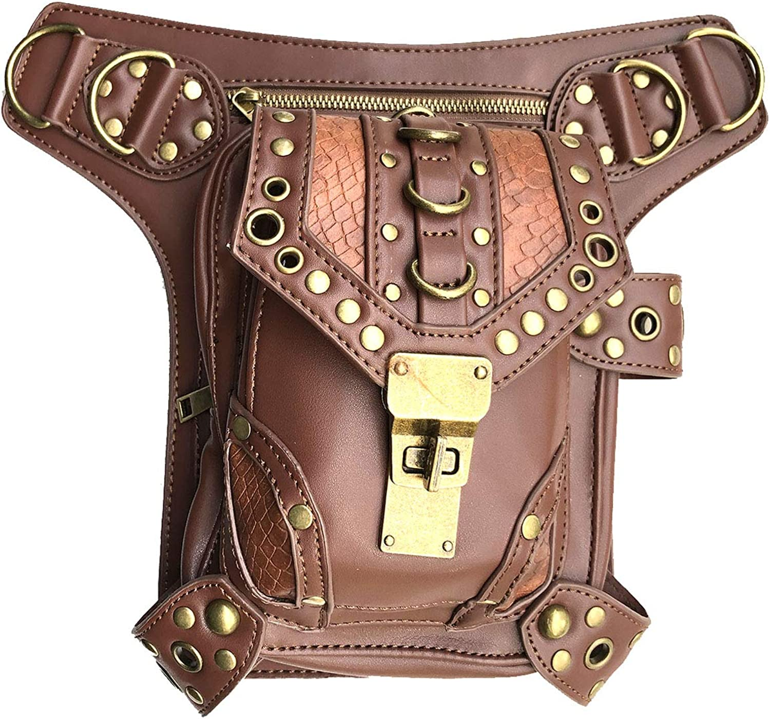 Valentoria Steampunk Waist Bag Fanny Pack Thigh Holster Purse Pouch Retro Fashion Gothic Casual Leather Shoulder Crossbody Messenger Bags Punk Rock Travel Hiking Sport Chain Wallet Bag for Women Men