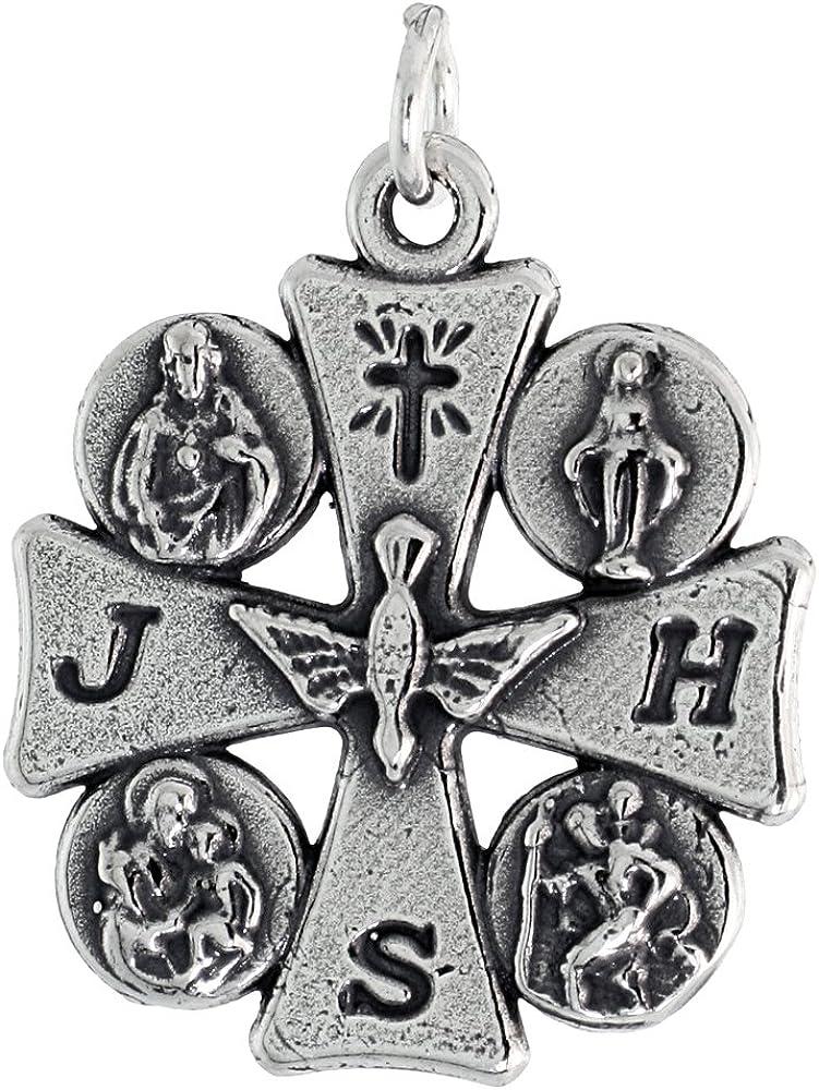 Sterling Silver Houston Mall Maltese Cross 4 Medal Over item handling 1.8mm Chain Way