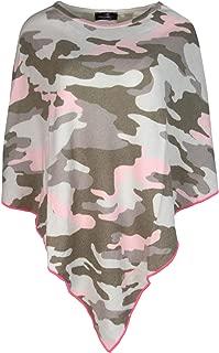Zwillingsherz Poncho mit Kaschmir im Camouflage Design - Hochwertiges Cape für Damen Mädchen - XXL Umhängetuch und Tunika - Strick-Pullover - Sweatshirt - Frühjahr Sommer Herbst und Winter