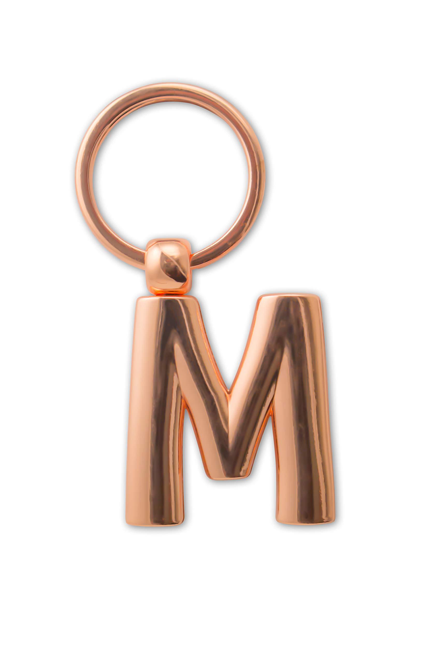 IF 47313 M Llavero de metal con letra de oro rosa