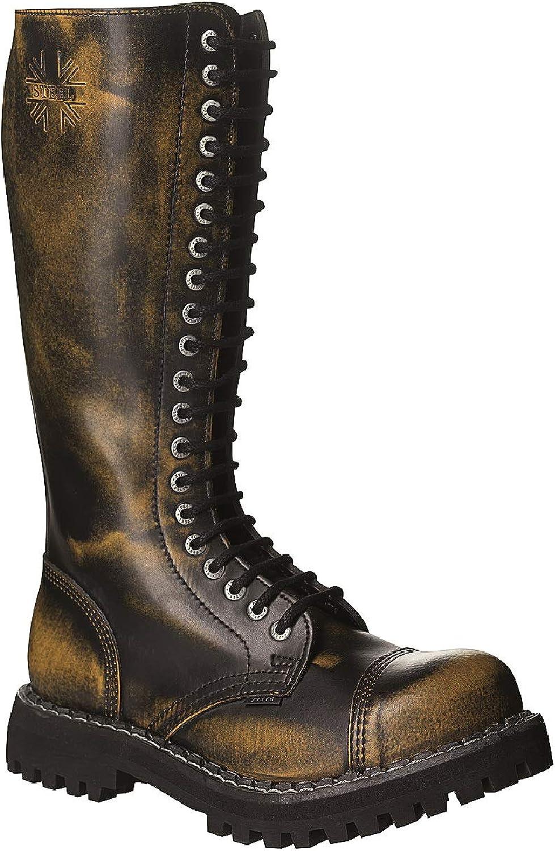 Steel Combat stövlar Unisex Män's Ladies Ladies Ladies läder gul Rub Off svart 20 Eyels Army Punk Toe Cap  billig grossist