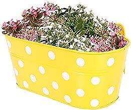 Gadgets Appliances Wonderful Colour Polka Dots, Railing Planter, Flower Pot, Wall Planter, Metal Planter, Balcony, Garden Planter Basket (Yellow)