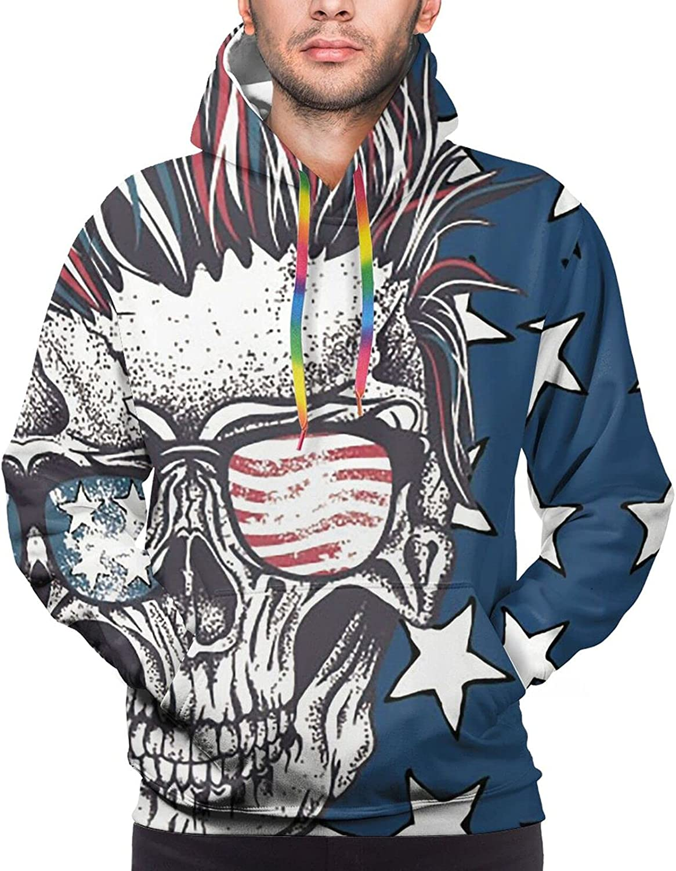 Hoodie For Teens Boys Girls American Flag Skull Sunglasses Hoodies Pullover Sweatshirt Pockets