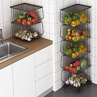 Whifea Metal Wire Basket with Wheels and Cover, 5 Tier Stackable Rolling Fruit Basket Utility Rack, Storage Organizer Bin for Kitchen, Pantry Closet, Bedroom, Bathroom