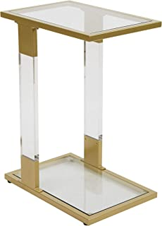 Silverwood C-Table, Gold and White