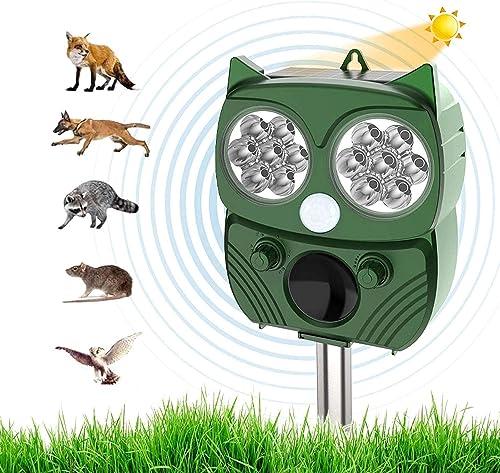 Nitoer Répulsif Chat Exterieur, Ultrason Chat, Repulsif Chien, Charge Solaire,Chargement USB Prévenir Les Chiens et L...