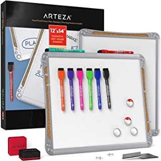 ARTEZA Framed Magnetic Cork Whiteboard Set, 12X14 Inches, 2-Pack Dry Erase Lap Boards with Push Pins, Markers & Magnets fo...